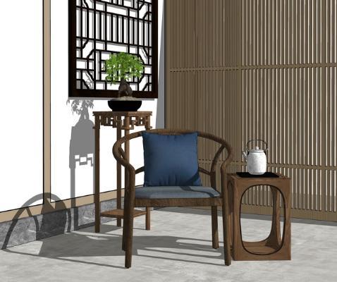 新中式休闲椅角几组合SU模型