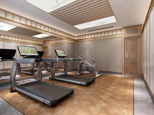 新中式健身房 新中式娱乐室 跑步机 电动单车 健身器材 吊顶