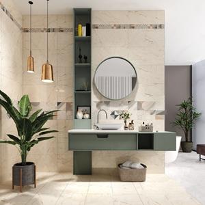 现代卫生间 现代卫浴 洗手台 镜子 吊灯 绿植 收纳篮 洗漱用品