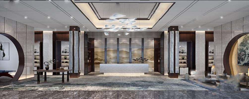 新中式酒店大厅3D模型