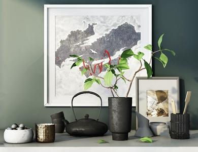 新中式摆件组合 新中式饰品摆件 花瓶 茶壶 装饰画 摆件