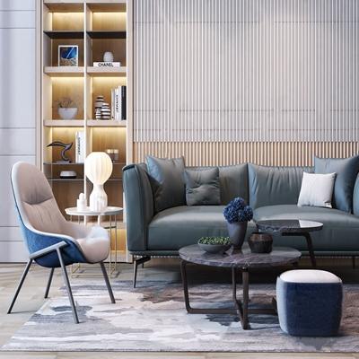 现代双人沙发茶几组合 现代沙发茶几组合 双人沙发 单人沙发 休闲沙发 茶几 书柜