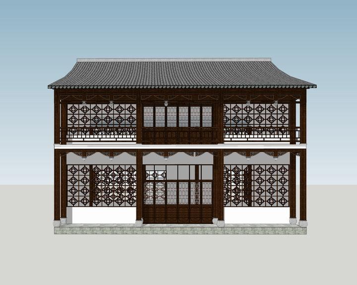 中式阁楼SU模型