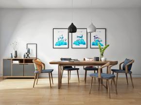 北欧实木餐桌椅边柜吊灯组合3D模型