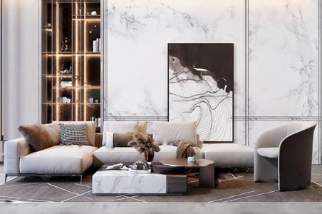 现代极简转角沙发茶几组合 现代沙发茶几组合 转角沙发 休闲沙发 茶几 花卉 挂画 书柜