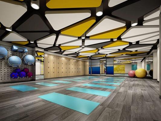 现代跳操房更衣室 现代娱乐会所 健身房 瑜伽室 更衣室 瑜伽球 吊顶
