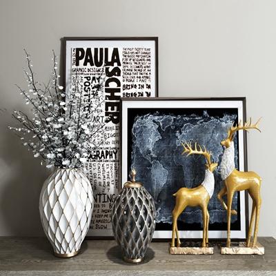 现代装饰摆件 现代饰品摆件 花瓶 鹿 装饰画