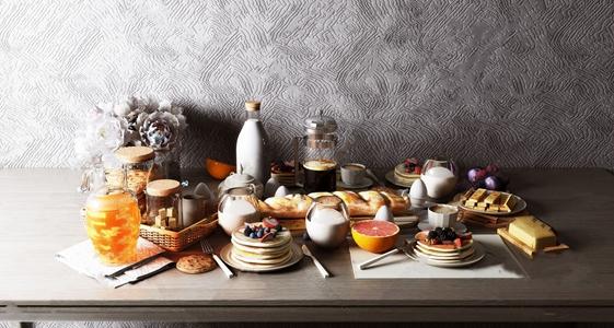 美式面包食物餐具摆件组合 美式酒水食品 面包 食物 餐具 摆件