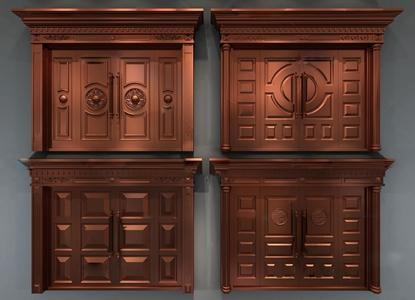 欧式四开大铜门3d模型