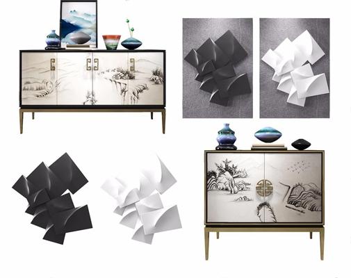 新中式柜子陶瓷立体挂画组合 新中式边柜/玄关柜 柜子 陶瓷 餐边柜 立体挂画组合