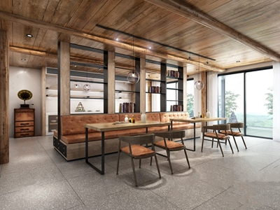 工业名宿餐吧 工业风餐饮空间 餐桌椅 卡座 吊灯 储物柜 楼梯 留声机 石头 竹子