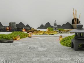 新中式景觀小品3D模型