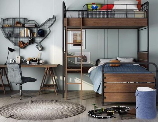 北欧儿童房放软装搭配 北欧单人床 书桌椅 墙饰 台灯 上下床 高低床 床品 玩具 圆形地毯 工业风单人床