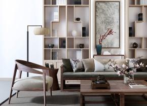 新中式实木沙发茶几书柜装饰柜摆件