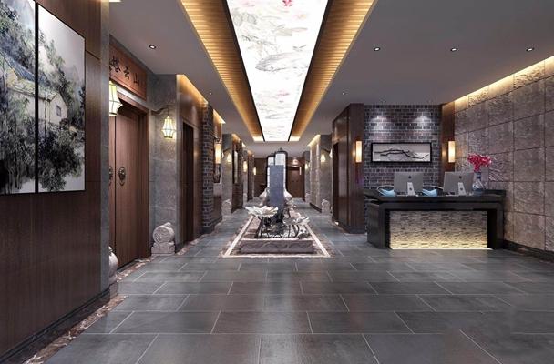 新中式茶樓走廊 新中式前臺接待 走廊 茶樓走廊 過道 接待臺 收銀臺 掛畫 景觀 墻飾 壁燈 荷花 石墩