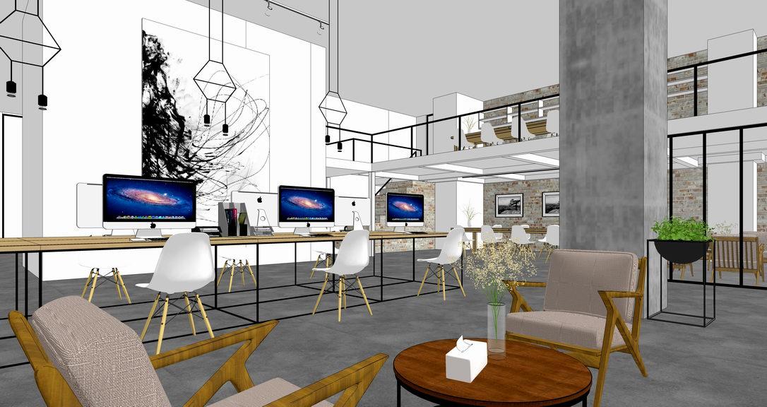 现代简约办公空间室内设计SU模型