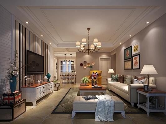 简美客餐厅 美式客厅 多人沙发 茶几 吊灯 电视柜 沙发凳