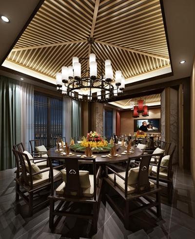 新中式酒店包间 新中式餐厅 餐桌椅 吊灯