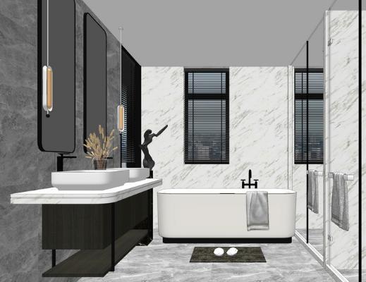 现代卫生间卫浴组合SU模型