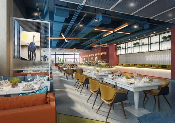 酒店艺术餐厅 工业风餐厅 酒店艺术餐厅 餐桌椅 餐具 沙发卡座 自助餐台 吊灯 挂画 轨道射灯