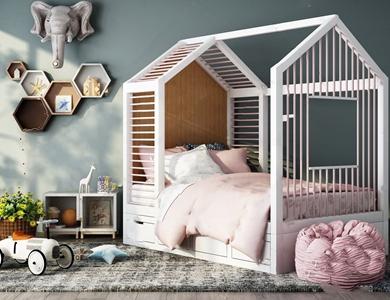 北欧儿童床 北欧单人床 儿童床 懒人沙发 玩具 墙饰 边柜