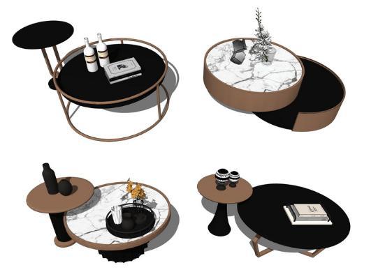 现代茶几组合SU模型