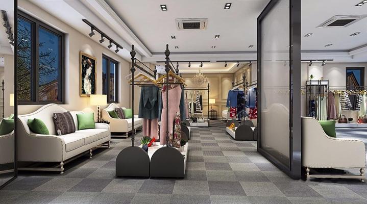 现代服装店 现代服装店 店铺 衣服 衣架 简欧双人沙发 边几 台灯 铜灯 射灯 水晶吊灯
