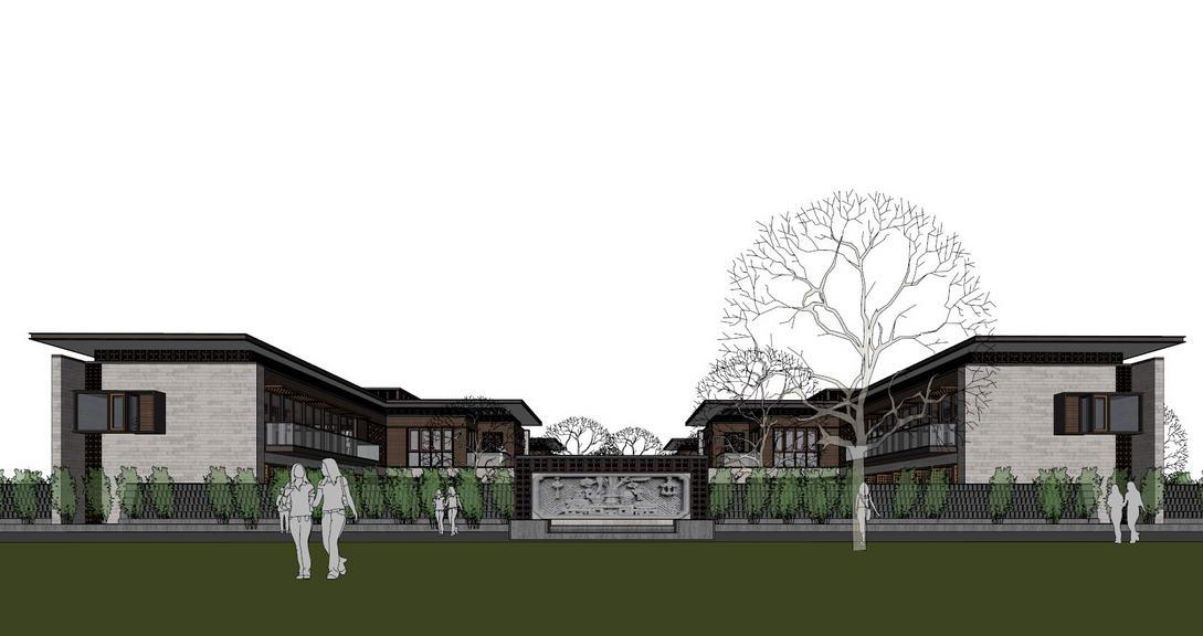 新中式合院SU模型