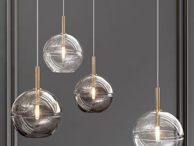现代金属玻璃吊灯3d模型