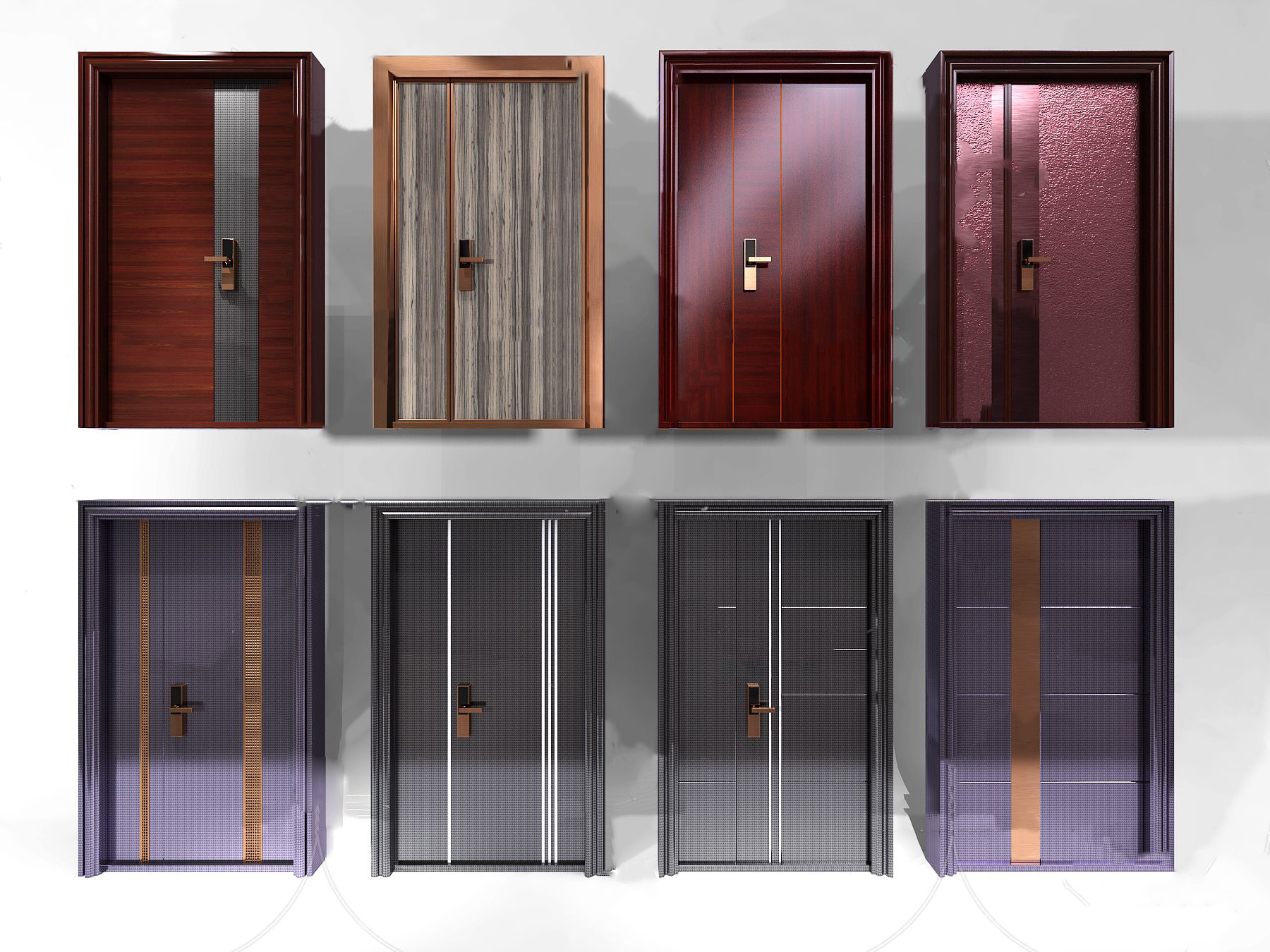 现代子母门实木门铜门3d模型