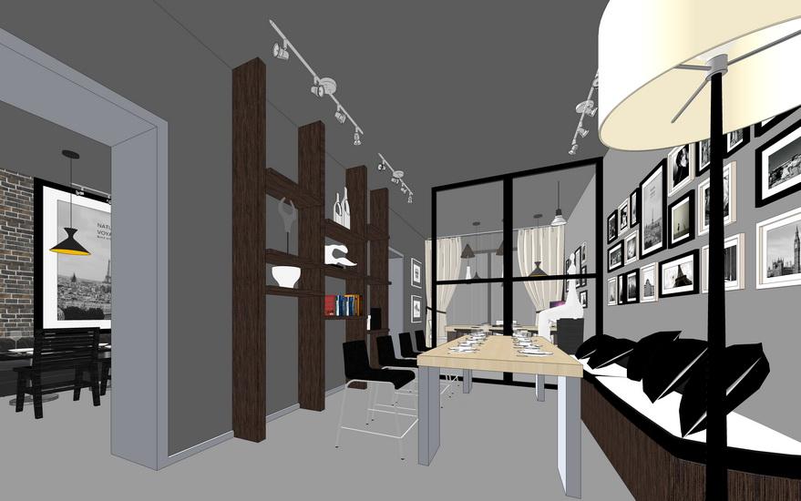 现代简约办公室室内设计SU模型