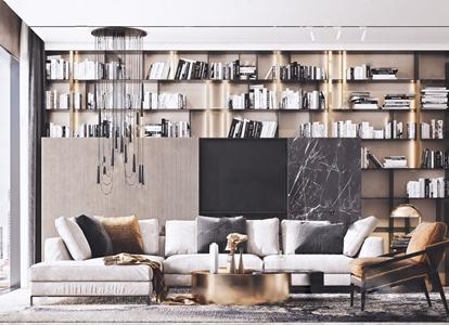 现代沙发茶几组合 现代沙发茶几组合 转角沙发 单椅 茶几 角几 吊灯 书架 书 台灯