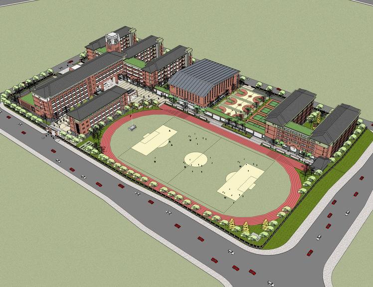 长沙市芙蓉区火炬中学设计投标SU模型