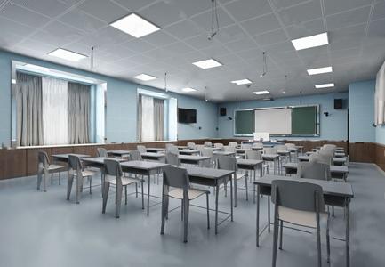 现代教室 现代学校 教室 课桌 单椅 讲台 空调 黑板
