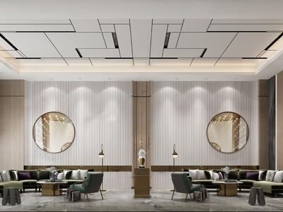 现代售楼处前台大厅接待区3d模型