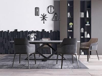 现代简约餐桌椅 现代餐桌椅 餐桌 单椅 书柜 吊灯