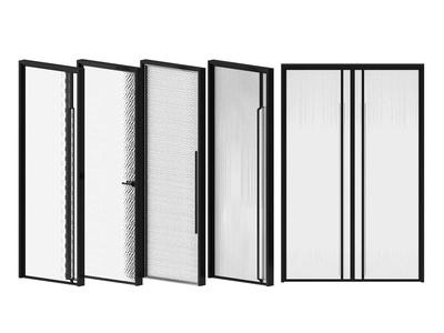 现代夹丝玻璃门3d模型