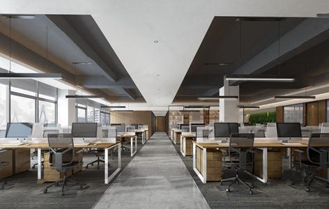 现代办公区 现代办公区 办公桌 办公椅 亟待太 植物墙 长条灯