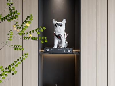 现代宠物狗雕塑3d模型