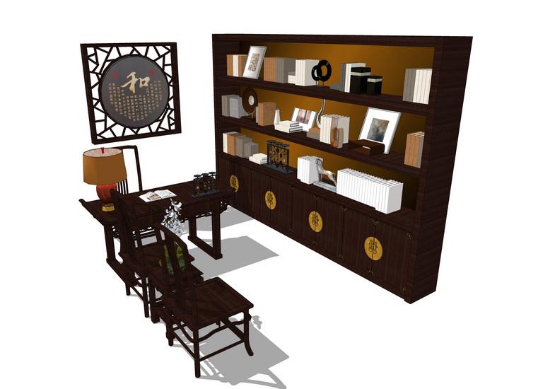 中式书桌书柜组合SU模型