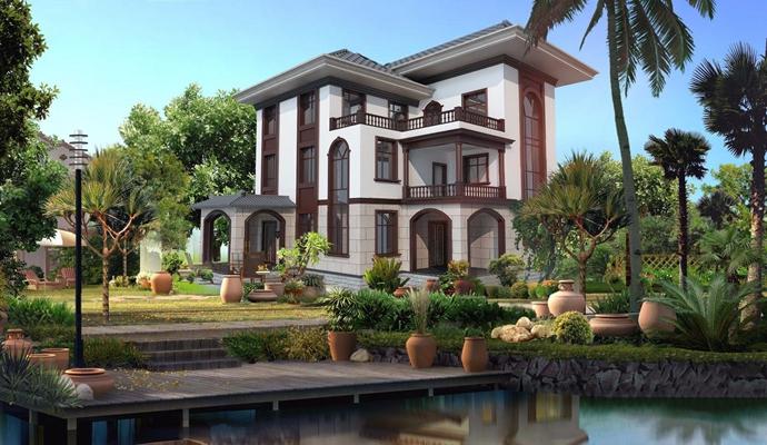 新中式别墅外观 新中式建筑 外观 外景