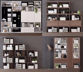 北欧实木书柜3d模型
