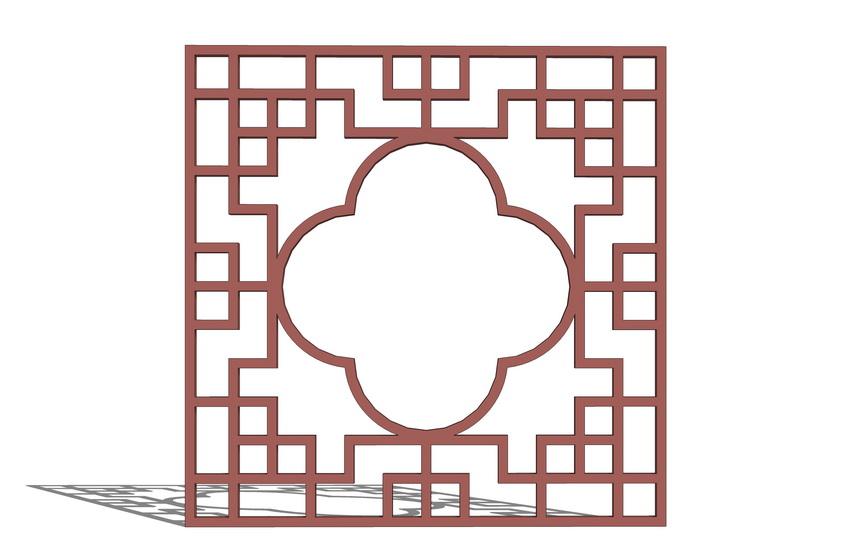 中式窗格SU模型