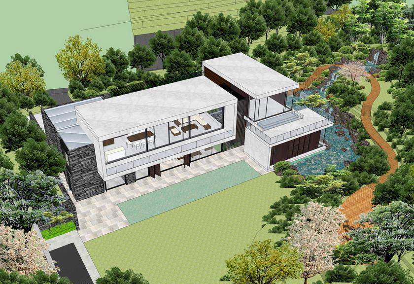 现代别墅带景观SU模型