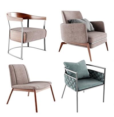 现代单人休闲沙发组合 现代休闲椅 休闲单人沙发 布艺椅子 椅子组合