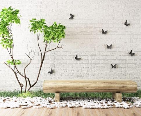 园艺植物木头长凳景观组合 现代绿植 园艺植物 木头长凳 鹅卵石 蝴蝶墙饰 草地