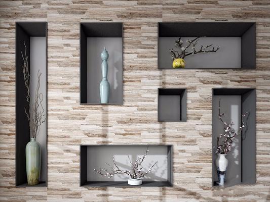 梅花造型墙 新中式花艺 梅花 造型墙 盆栽 新中式 干枝 景物