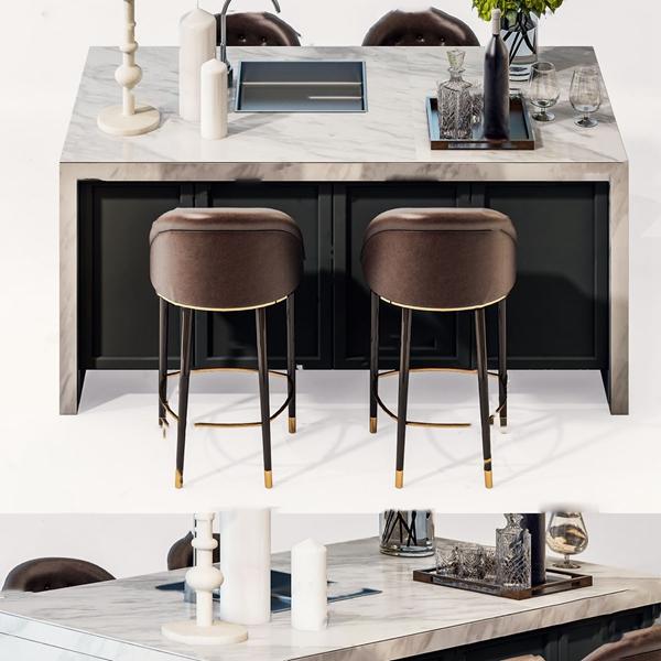 现代吧台吧椅3d模型