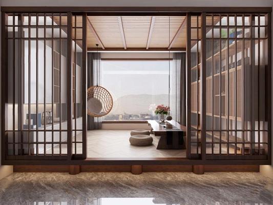 新中式茶室休闲区 新中式茶室 茶桌椅 坐垫 吊椅 装饰柜 推拉门