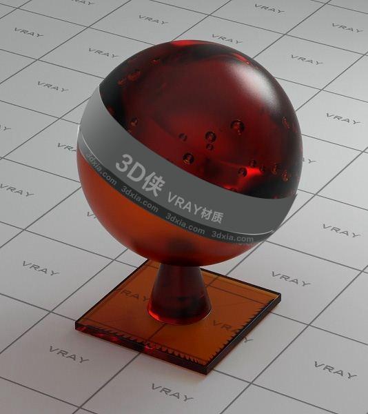 红色玻璃Vray材质下载